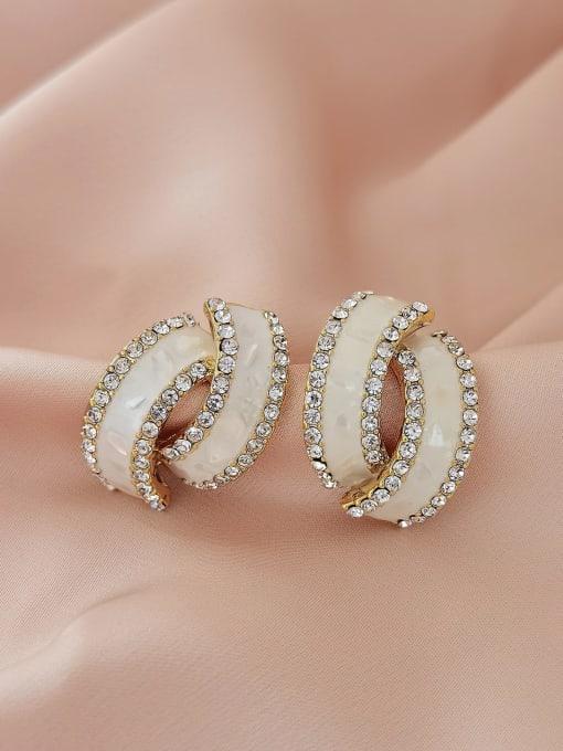 14k Gold [triangle clip] Brass Rhinestone Enamel Geometric Minimalist Stud Earring